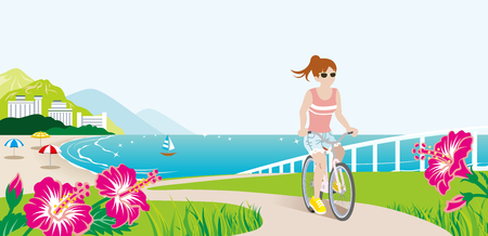 summer nature: Female Cyclist in Summer Seaside nature