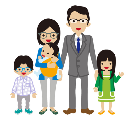 two child: Young family -East Asian Ethnicity Illustration