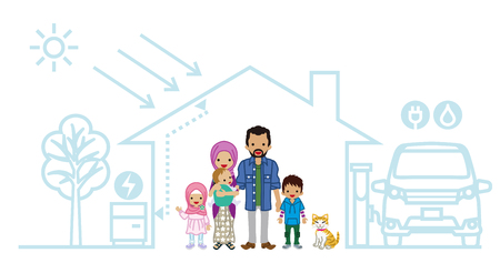 young family: Young Muslim family in the Futuristic House