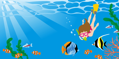 熱帯魚とシュノーケ リングを楽しんでいる女性