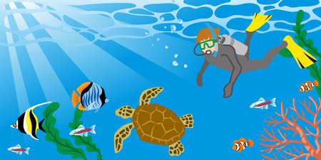 unrecognizable person: Man enjoying Scuba Diving with the Sea turtle