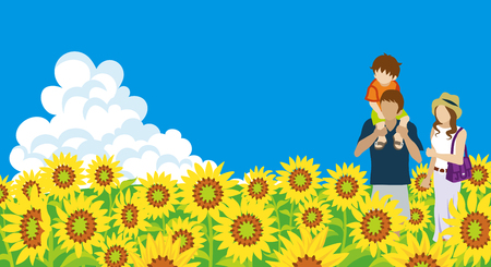 Young Family in the Sunflower field Illustration