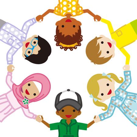 Holding hands Multi Ethnic children Illustration