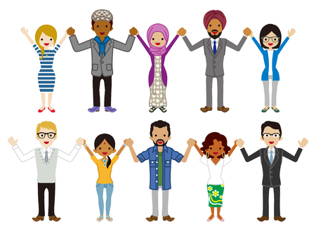 Multi Ethnic young adults Group people set - Holding hands 矢量图像