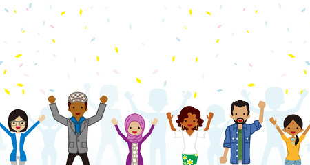Celebrating Multi Ethnic young adults Group in confetti background