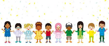 Tenant les mains Multi enfants ethniques dans le fond de confettis, se tenir dans une ligne Vecteurs