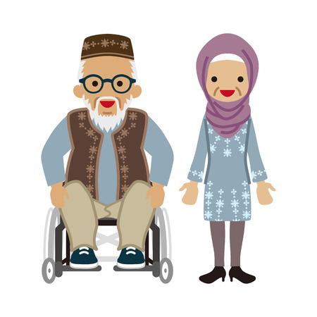 Senior couple -Muslim, Wheelchair grandpa worn Eyeglasses