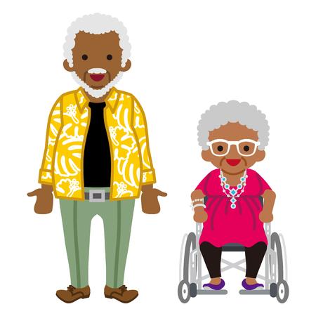 Senior couple -african, Wheelchair grandma