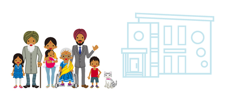 grandson: Indian multi-Generation family with the residence Illustration