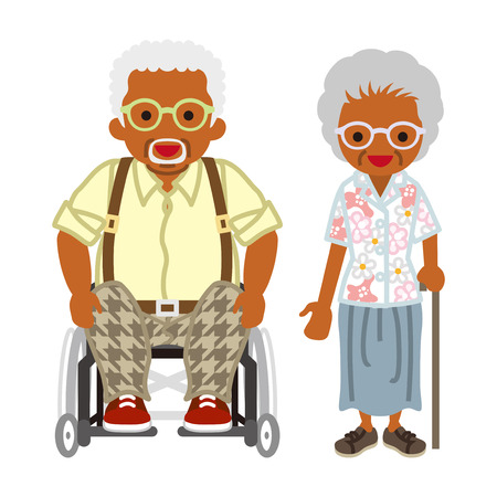 Senior paar -african, rolstoel opa gedragen brillen
