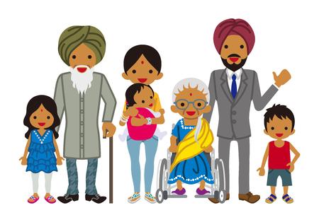 Multi-Generation family -Indian Vektorové ilustrace