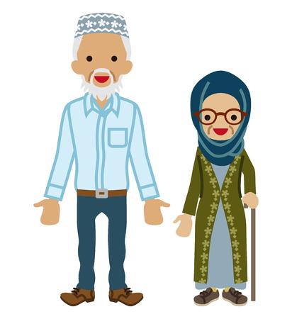 Senior couple -Muslim, Walking Cane grandma