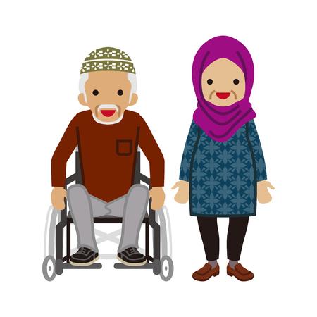 Senior couple -Muslim, Wheelchair grandpa