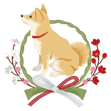 Shiba inu into the Japanese wreath decoration -Side view sitting facing left