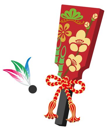 Hagoita - Japanese traditional toy Illustration