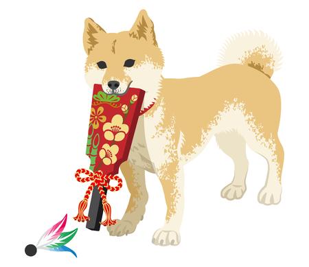 Shiba inu playing with the Japanese Battledore Illustration