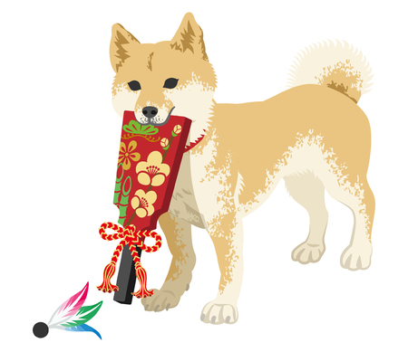 Shiba inu playing with the Japanese Battledore Illustration