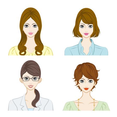 Smiling women face set Illustration