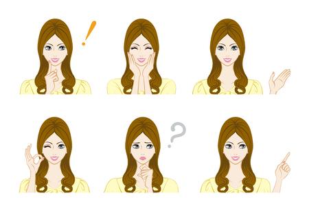 Facial expression set - Long hair woman