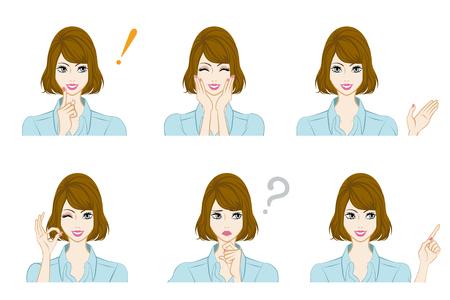 Facial expression set - Bobbed hair woman Illustration