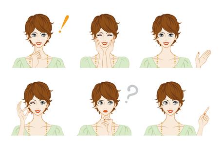Facial expression set - Short Hair woman