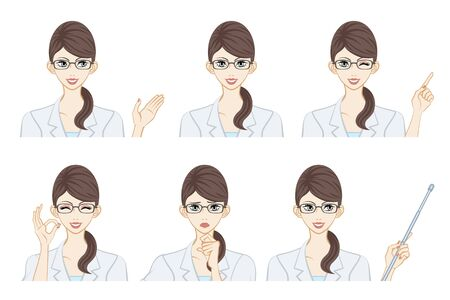 Facial expression set - Female therapist