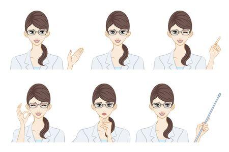 Ensemble d'expression du visage - thérapeute féminine