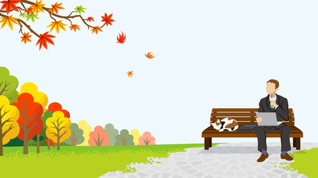 Businessman take a break in the autumn park Illustration