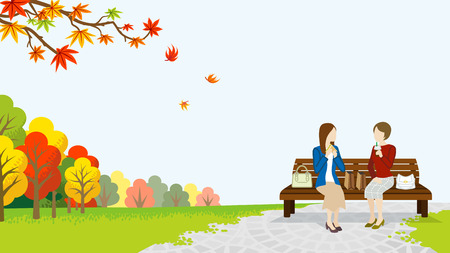 Two women lunch in the autumn park Illustration