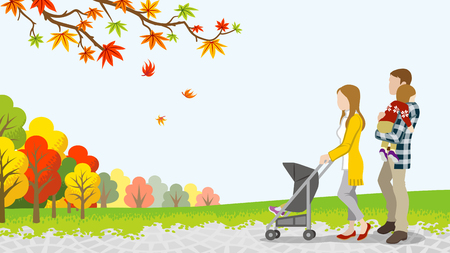 Walking family with Baby Stroller in autumn nature