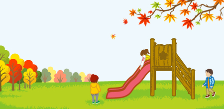 Children playing on a slide -Autumn nature Illustration