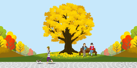 공원에서 큰 가을 나무