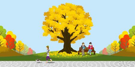 Grote herfst boom in het park Stock Illustratie