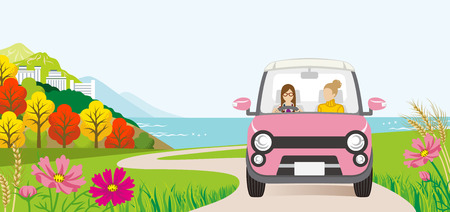 Car driving in the Autumn road, Front view  - Two women Illustration