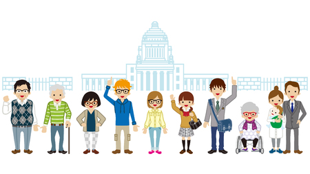 Various generation people standing in front of Japan National Diet Building