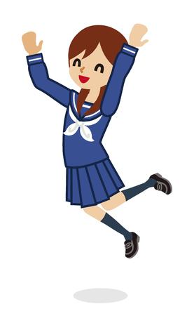 Jumping Japanese female High School Student Illustration