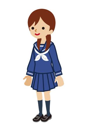 Japanese female High School student Illustration