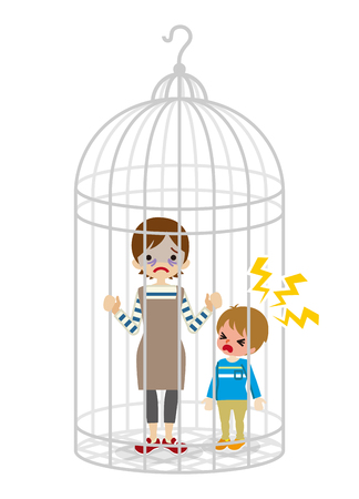 Housewife and son into the Birdcage Illustration