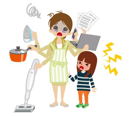 Empleado con exceso de trabajo madre Ilustración de vector