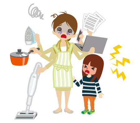 emotional stress: Overworked employee mother