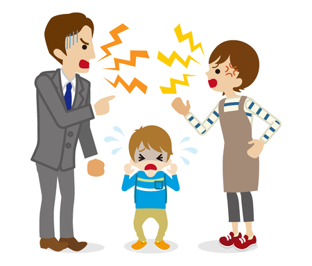 Quarreling Parents and crying son