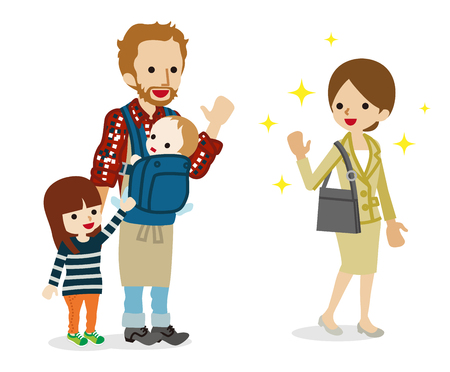 Employee mother go to work Illustration