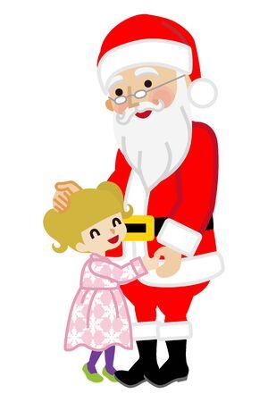 Toddler girl hugging Santa Claus Ilustrace