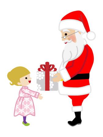 Santa Claus giving Toddler Girl a Christmas Present Illustration
