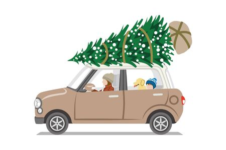 Car loading Christmas tree on the roof,Side view  -  Mother and son with dog Illustration