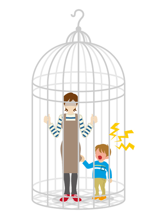 Anonymous Housewife and son into the Birdcage Illustration