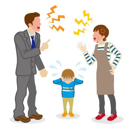 Anonimowi kłócący się rodzice i płaczący syn