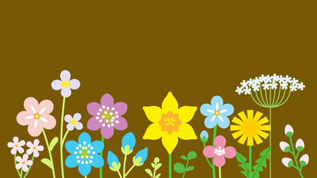 Lined up Colorful Wildflowers Иллюстрация