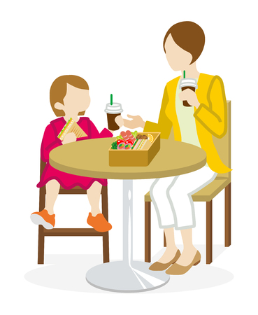 Mother and Daughter have a lunch with a cafe table