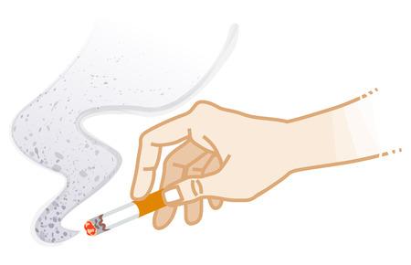 Hand holding a Cigarette - Smoking risk concept art Ilustrace